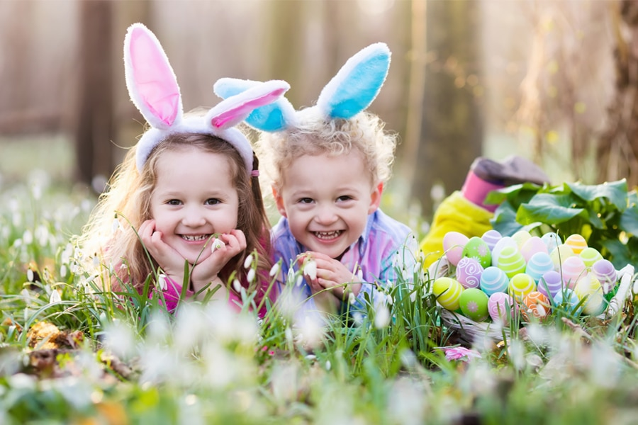 Things to Do in the Easter Holidays in Cheshire - Two smiling kids and Easter eggs