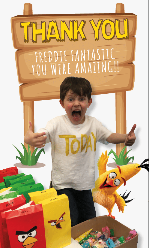 Flynn's thank you for birthday party magician Freddie Fantastic