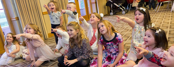 happy children at a Magic 4 Children birthday magic show in Cheshire