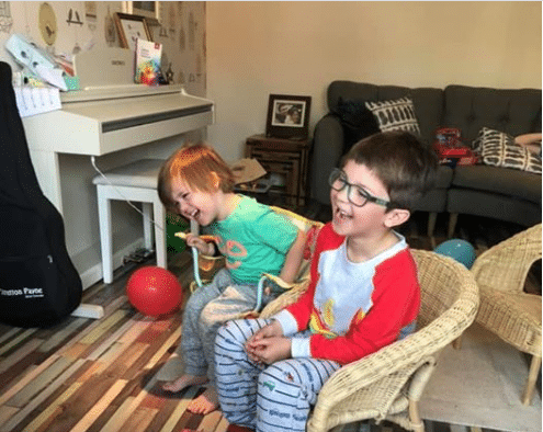 A Birthday Boy and his little Brother nearly fall out of their chairs with laughter thanks to our Online Children's entertainment