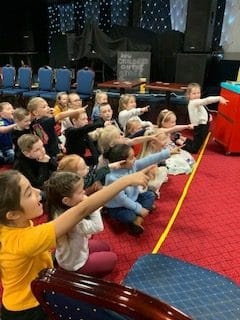 Children reacting to magic show