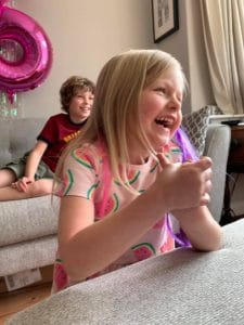 Newly turned 6 year old celebrates at her Online Birthday Party